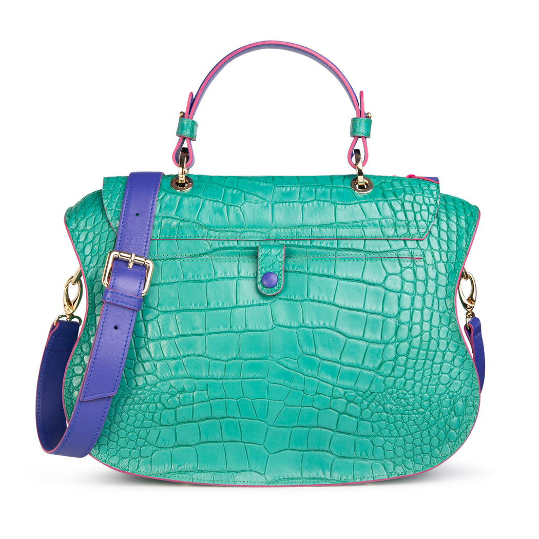 Designer crossbody bag: Designer satchel bag in green-blue croc-embossed leather