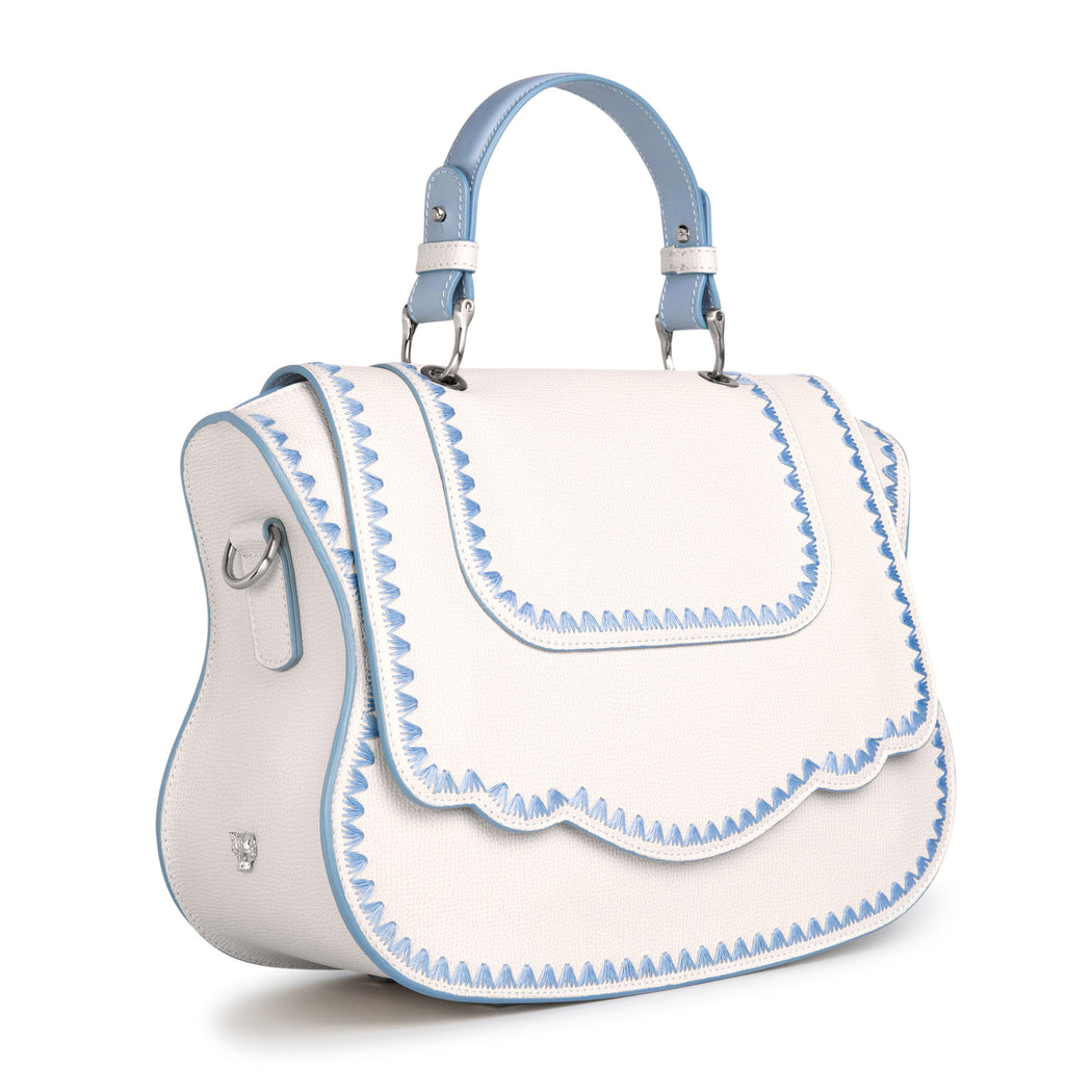 Audrey handbag: Designer satchel purse in white leather
