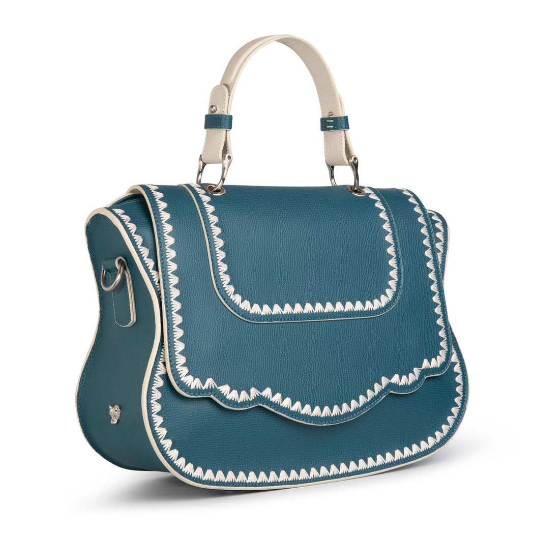 Designer satchel handbag in teal leather with white stitch