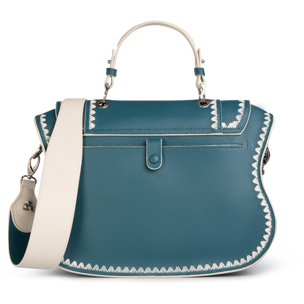 Women's designer handbag: Teal leather designer satchel with white strap