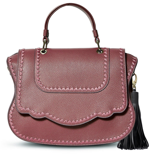 An instant statement luxury leather bag in balsamic grained calfskin, the feminine curved lines and spacious interior ensures that the bag is both chic and functional. Can be comfortably worn on the shoulder as it features a removable shoulder strap. The signature curved flap is highlighted with beautiful crowfeet tonal stitching.