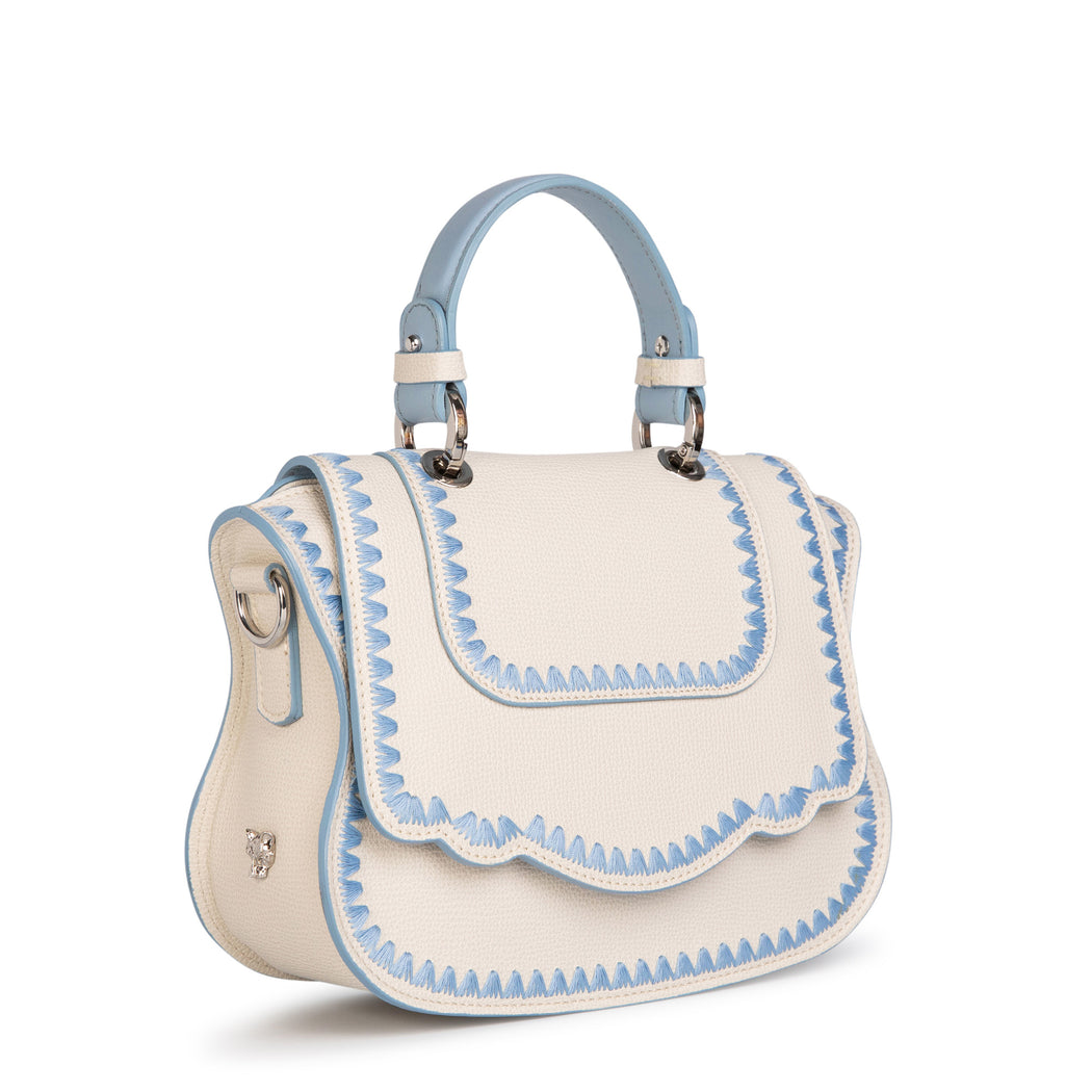 Luxury crossbody bag in white Audrey handbag style.