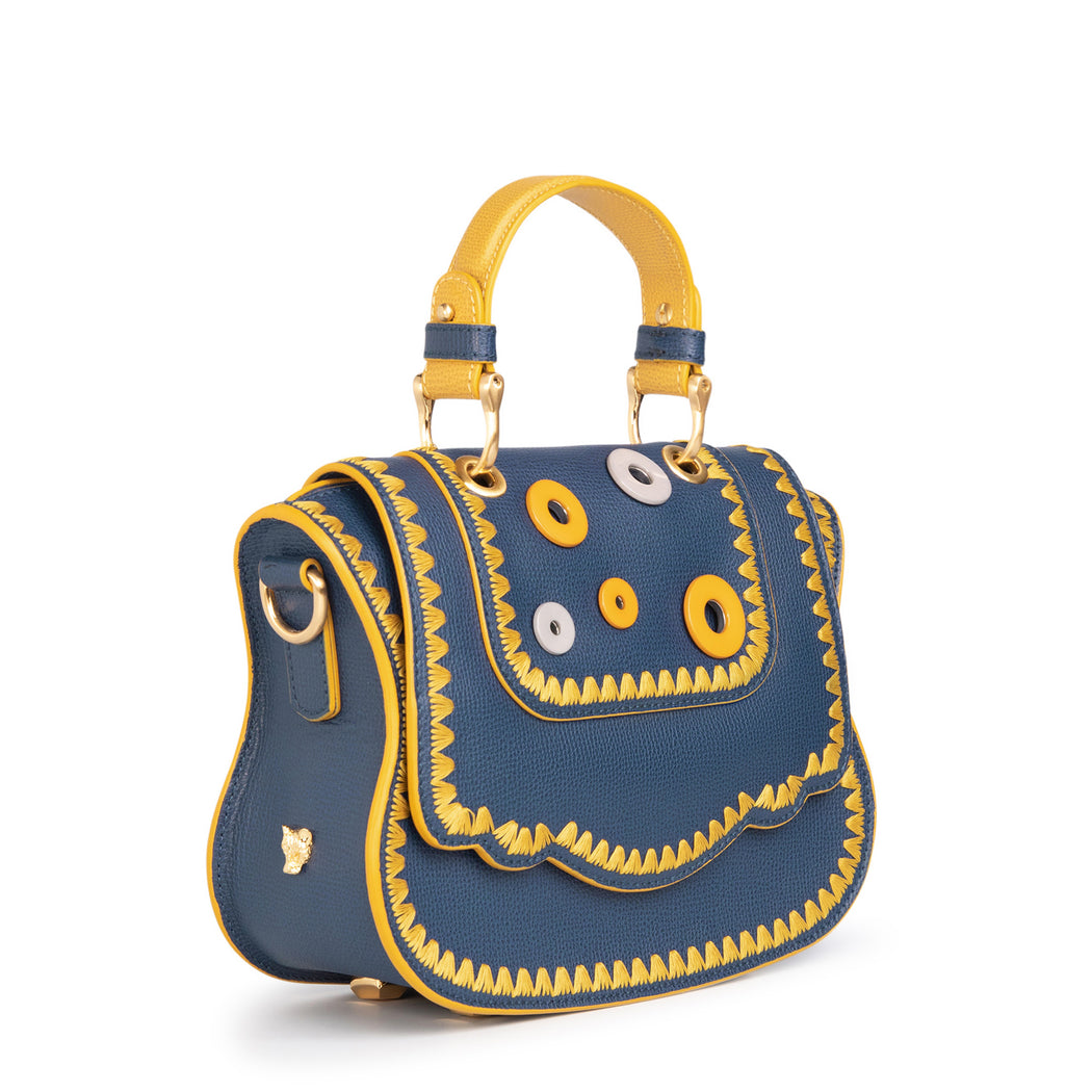 Luxury crossbody bag in classic Audrey handbag style, blue with yellow eyelets
