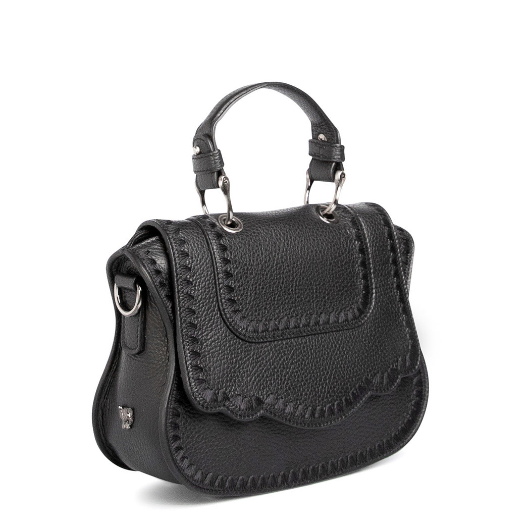 Designer crossbody bag, black leather, for women