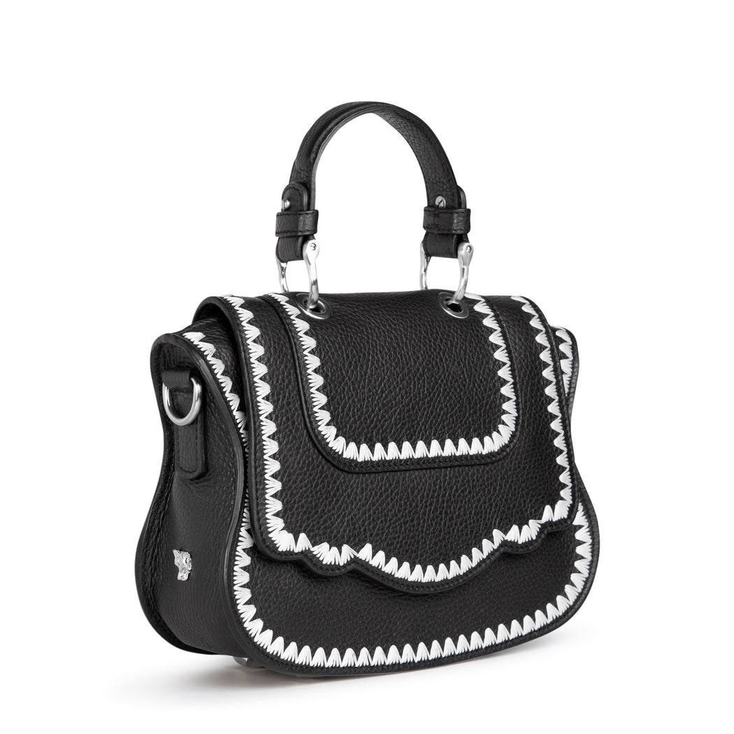 Luxury crossbody bag, mini, black with white stitching.