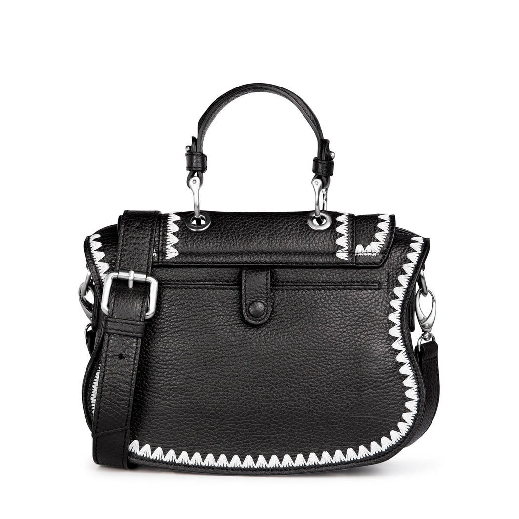 Women's designer handbag: Black crossbody bag, mini.