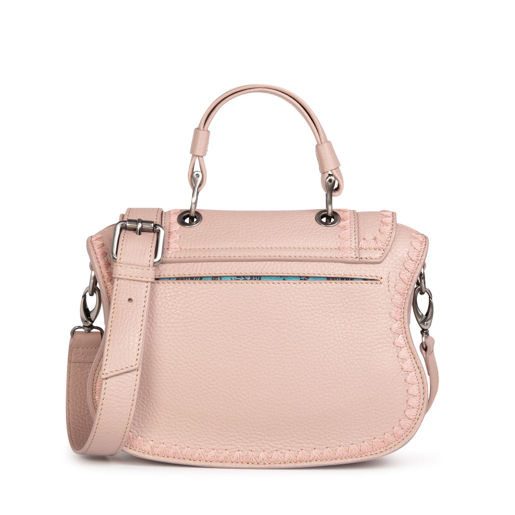 Luxury handbag in pink leather