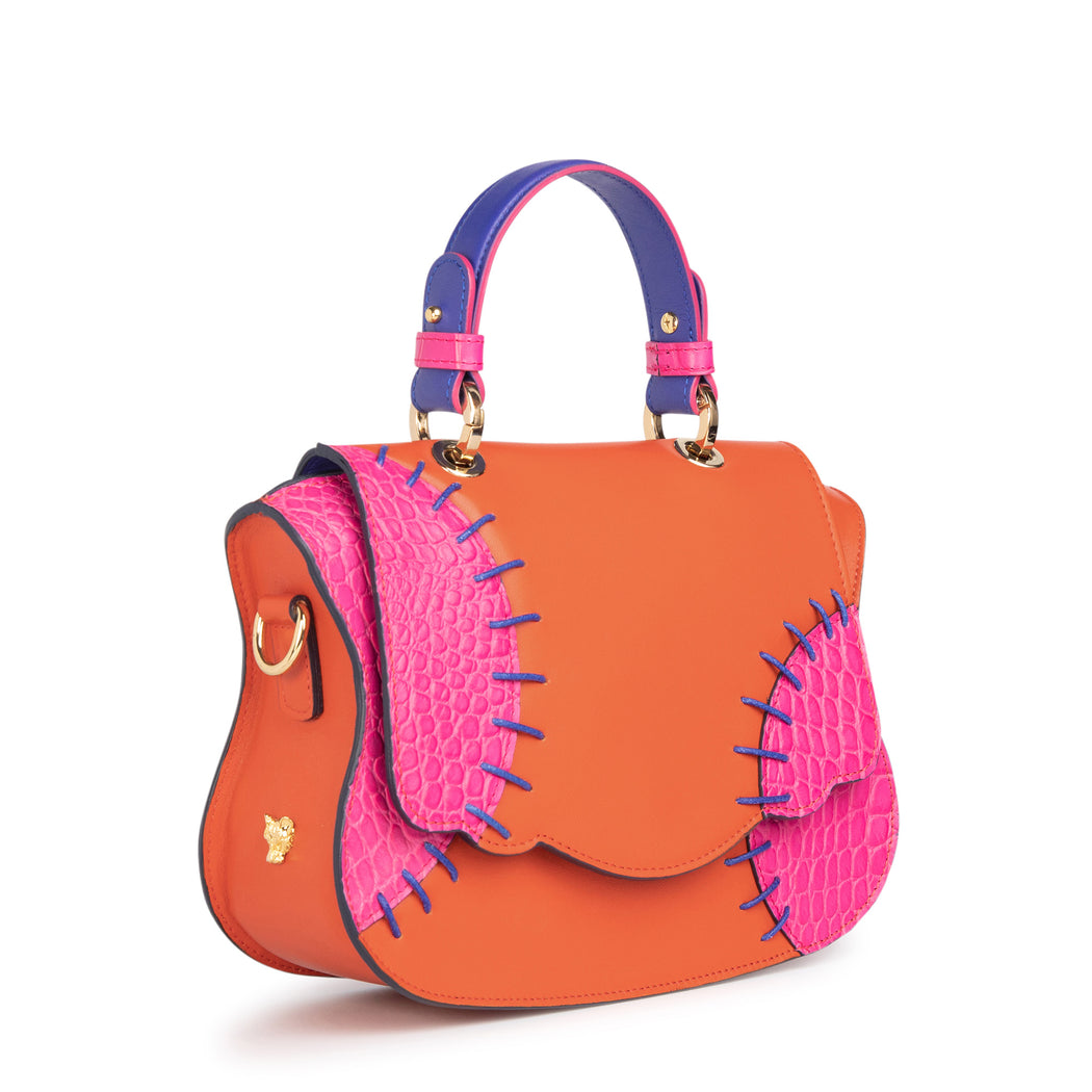 Orange-pink leather mini crossbody bag: Women's women's designer handbag