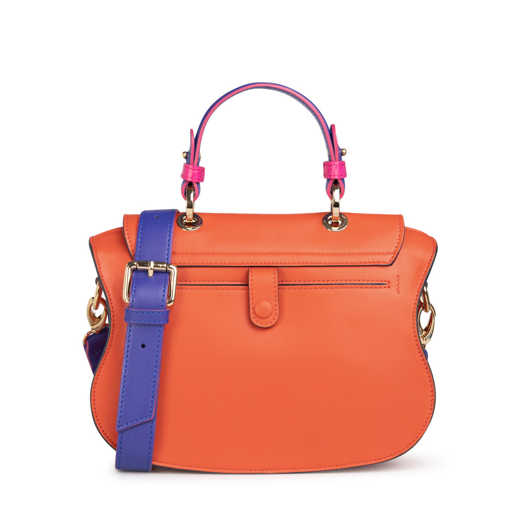 Luxury crossbody bag for women in leather (orange-pink)