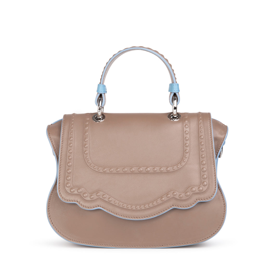 Taupe designer crossbody bag, mini, for women