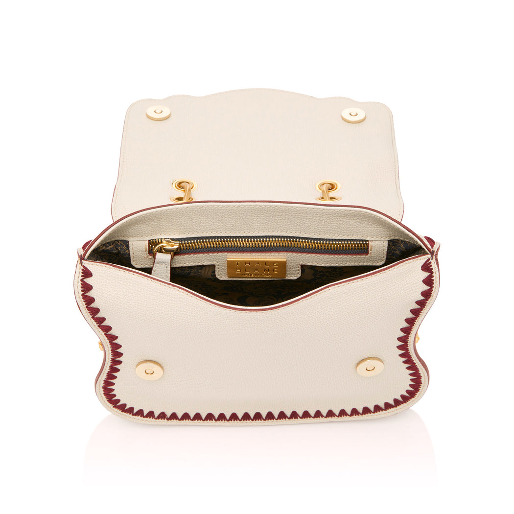 Audrey Crossbody: Designer Crossbody in White/Red