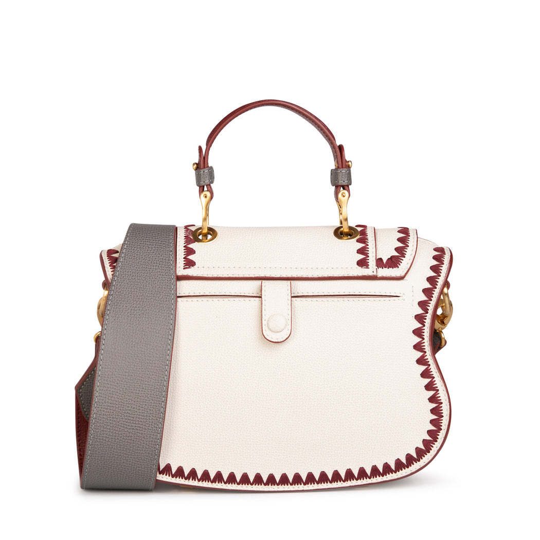 Luxury crossbody bag, mini, in white leather with red trim