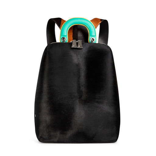 Women's designer backpack in black calf hair leather