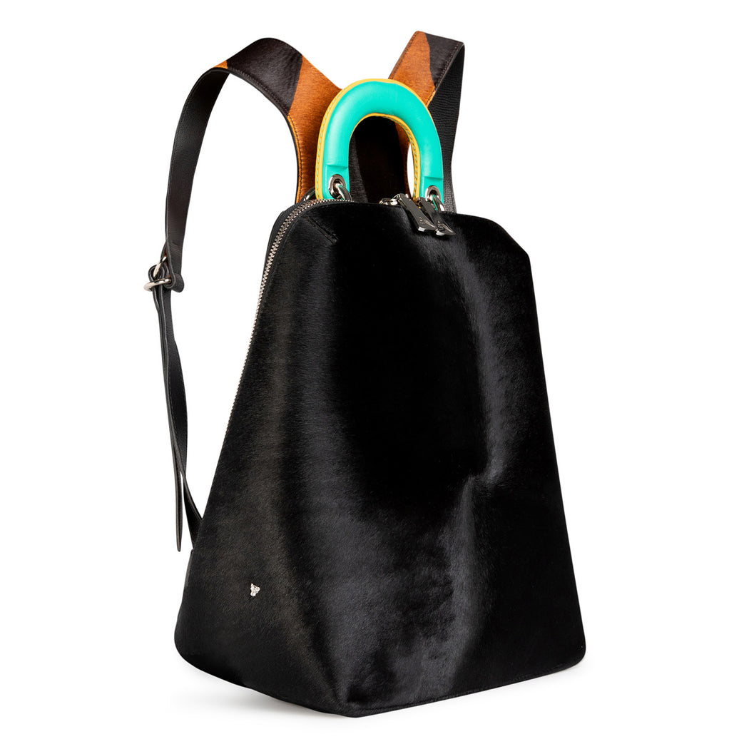 Black leather backpack for women. with racerback straps