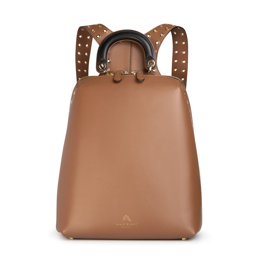 Women's designer backpack in brown leather