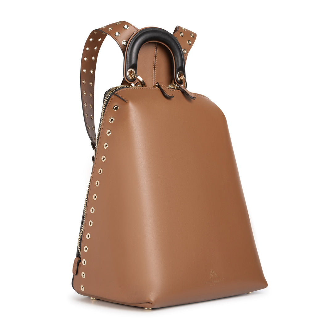 Luxury backpack for women, in brown leather