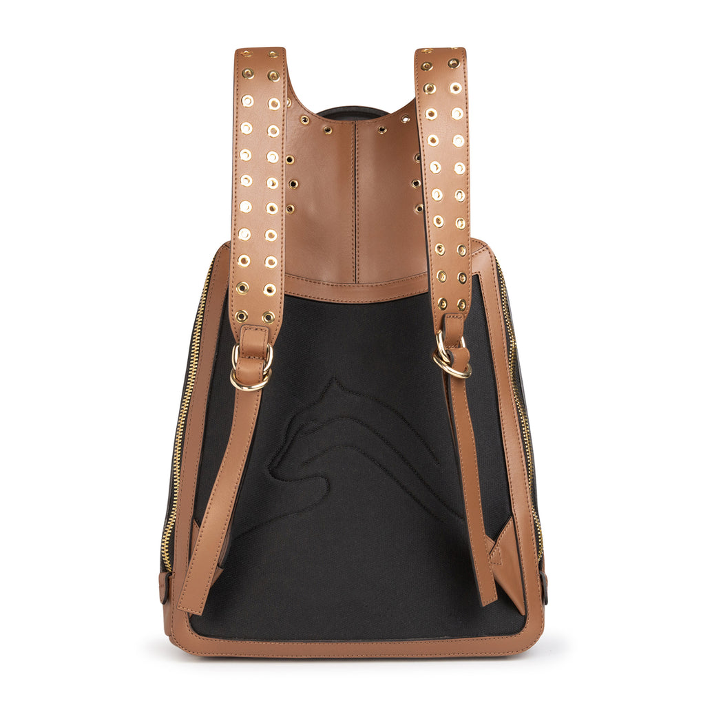 Black leather panel of women's designer backpack