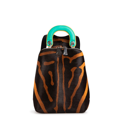 Women's designer mini backpack in orange-black animal print with green leather handle