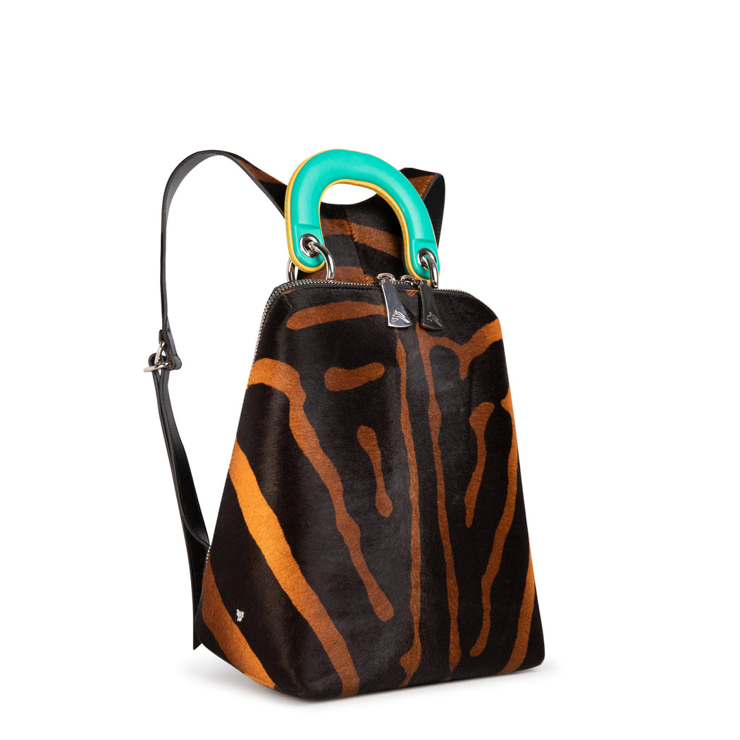 Luxury backpack, women's: Animal print backpack with green leather handle