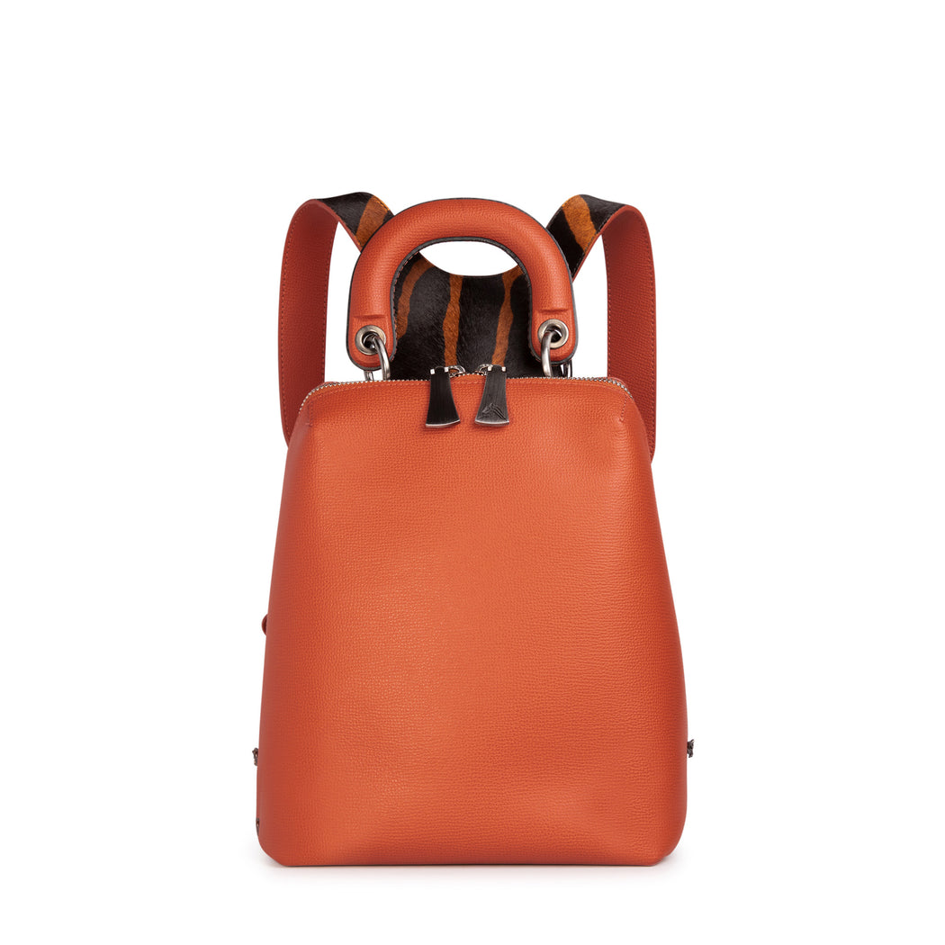 Women's mini designer backpack in orange leather