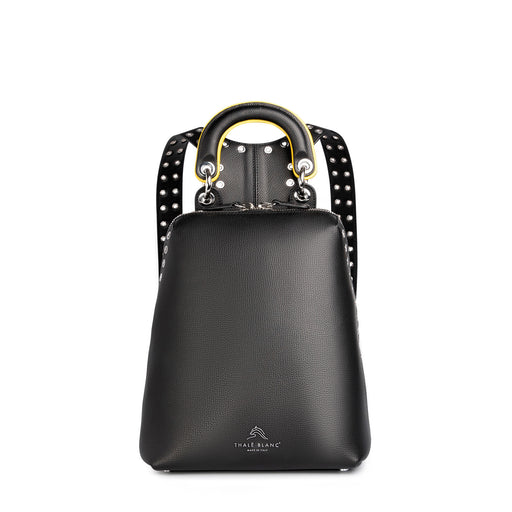 Mini designer backpack in black leather for women