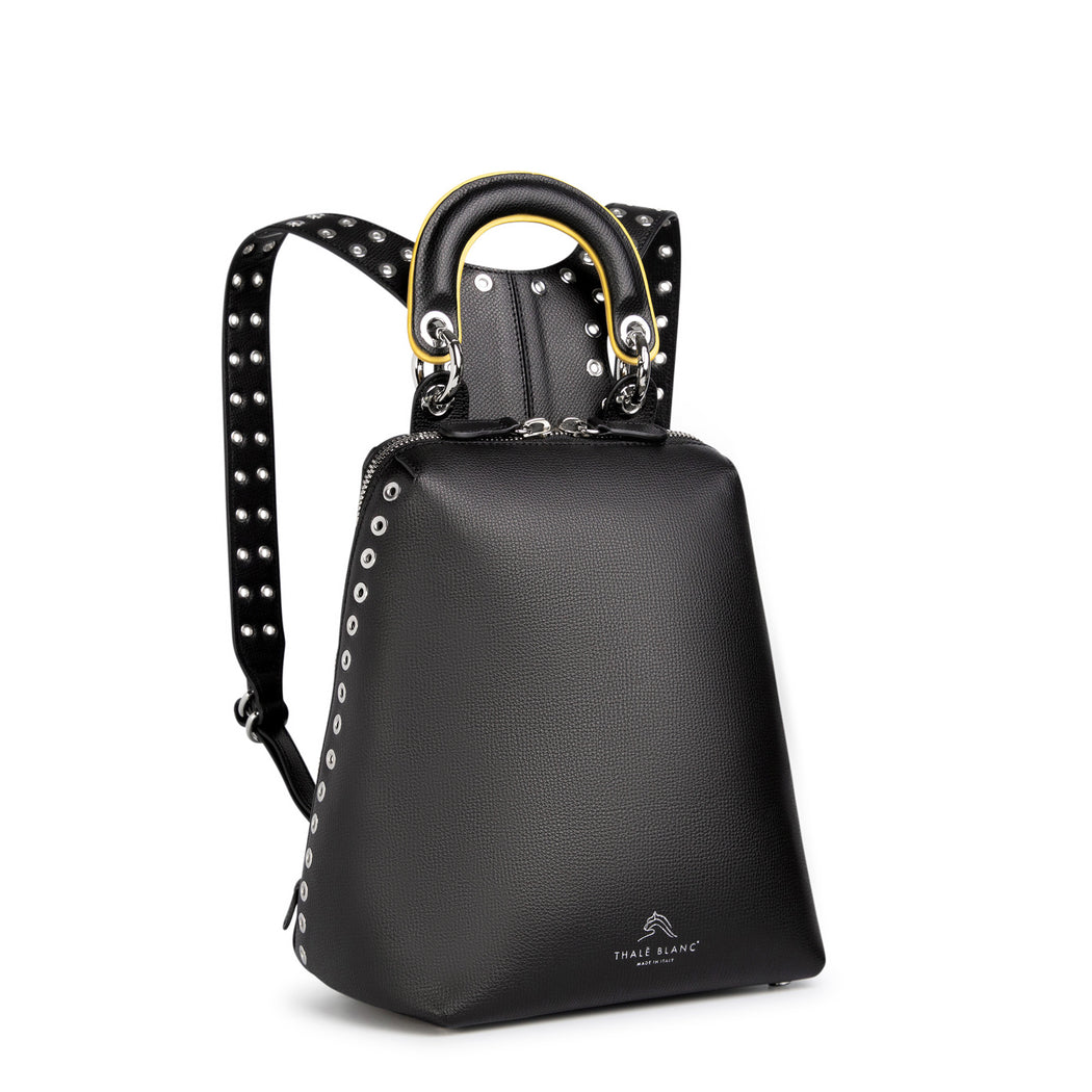 Women's designer backpack in black leather with silver eyelets on strap