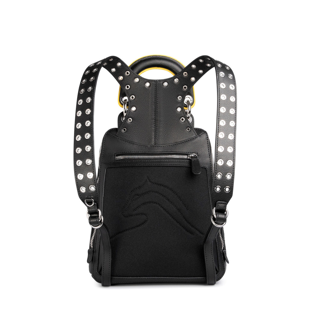 Cushioned back of small designer backpack for women in black leather