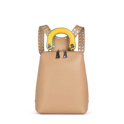Mini designer backpack: Beige leather backpack for women