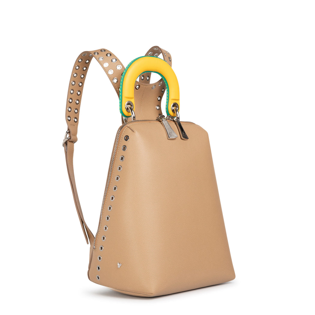 Luxury backpack: Women's designer mini backpack in beige leather