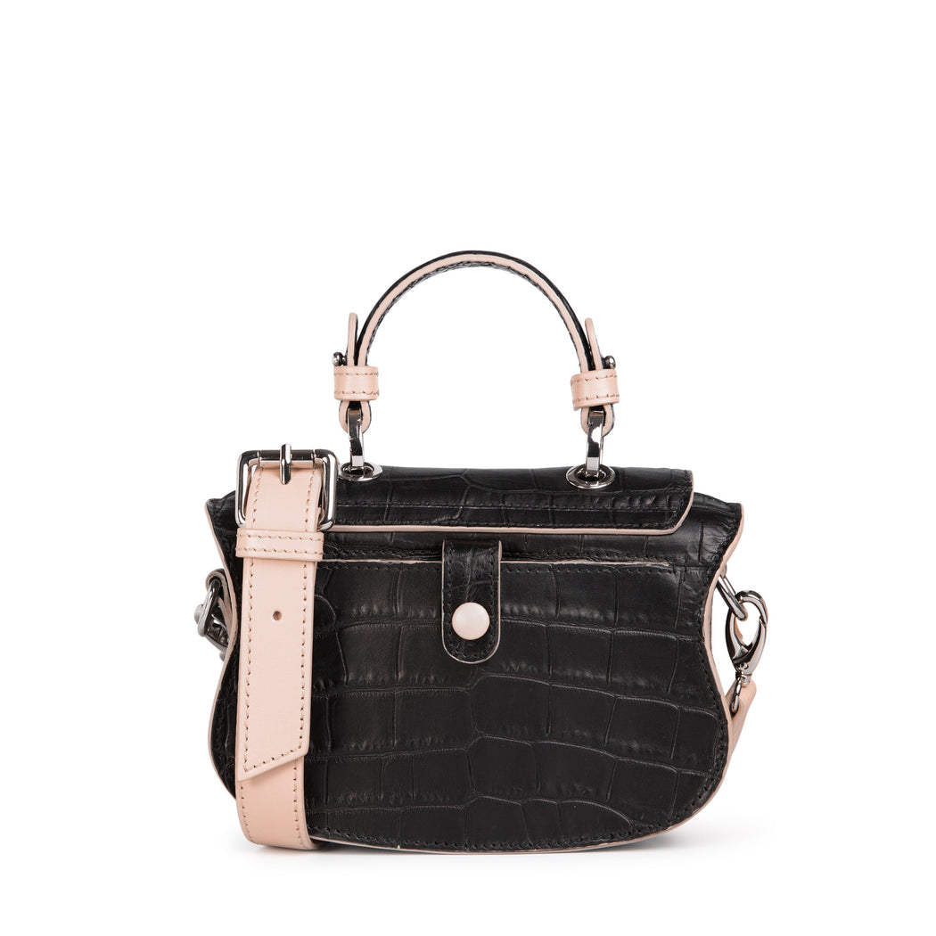 Audrey Croc Print Small Crossbody