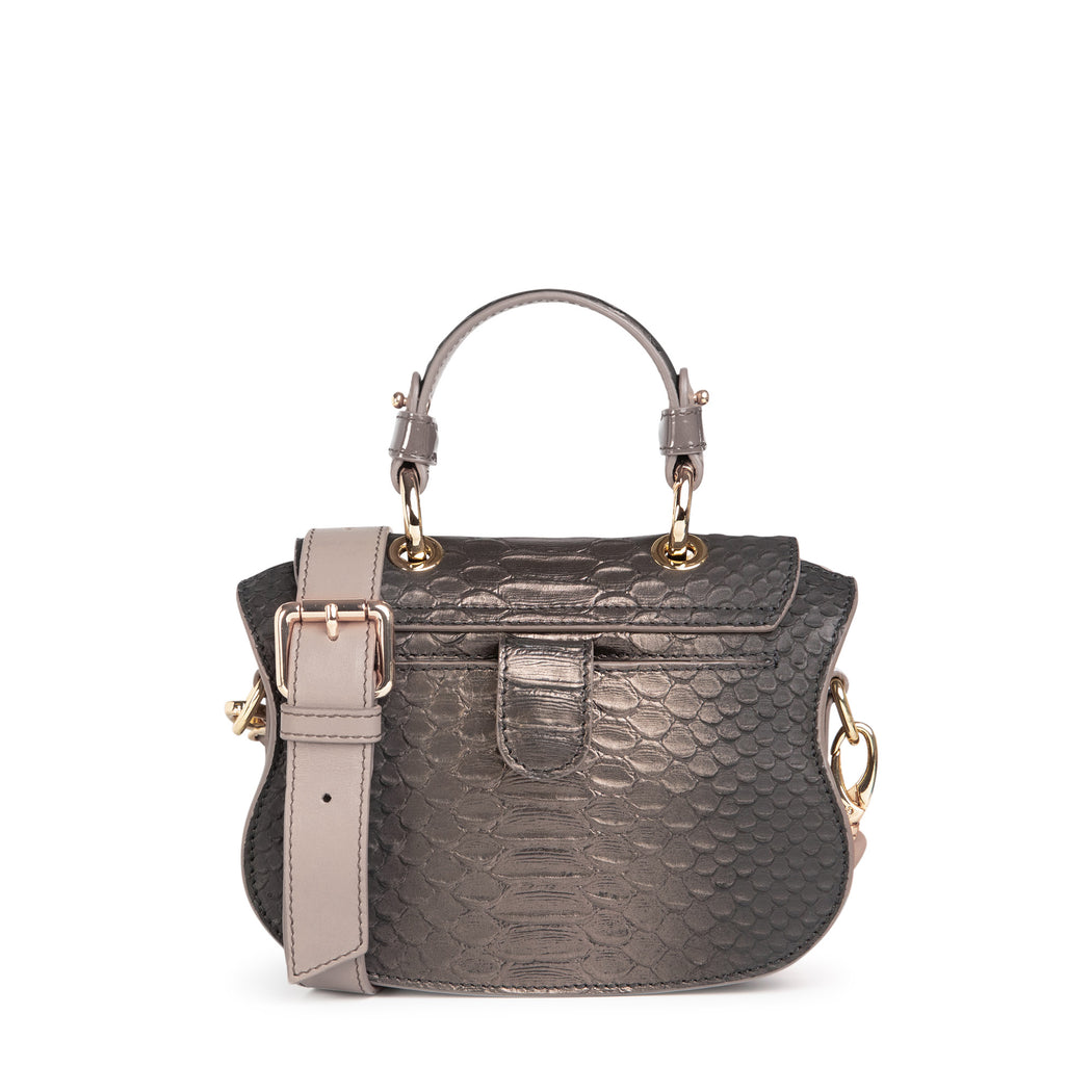 Luxury handbag: Snakeskin handbag in pewter leather