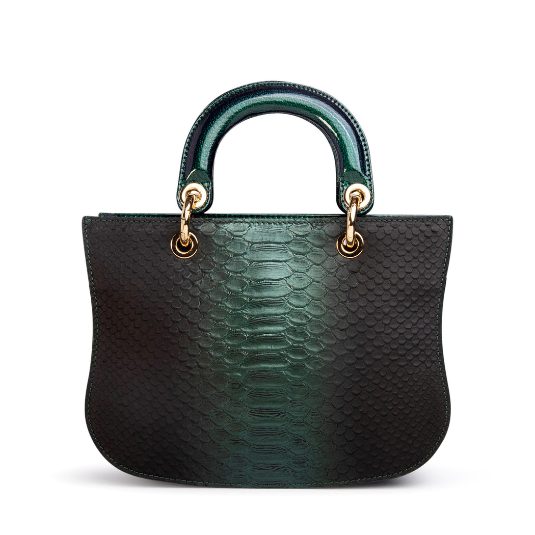 Designer satchel handbag: Green snakeskin purse