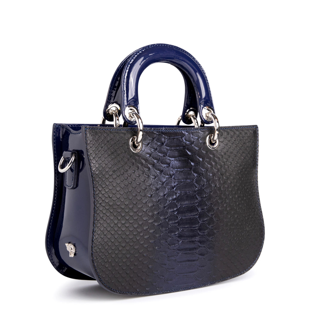 Mademoiselle Satchel: Snake Satchel Crossbody in Midnight Blue