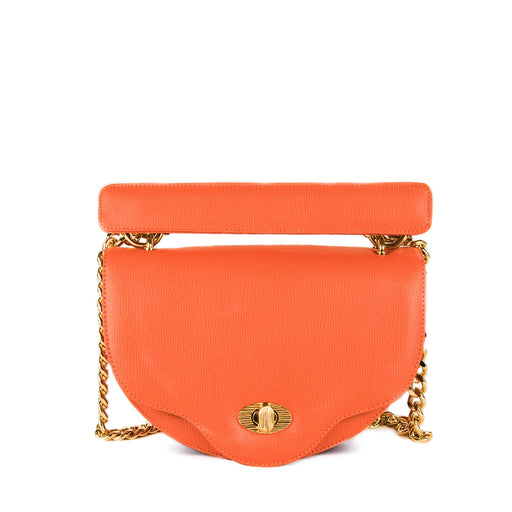 Designer crossbody bag, orange mini chain handbag