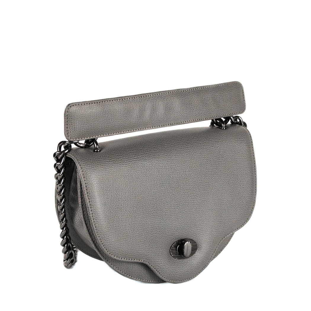 Chain handbag: Crescent-shaped luxury crossbody bag, mini, in grey leather with chain strap
