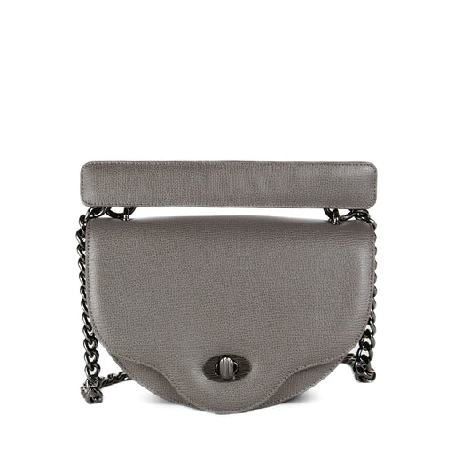 Designer crossbody handbag with chain strap, grey leather