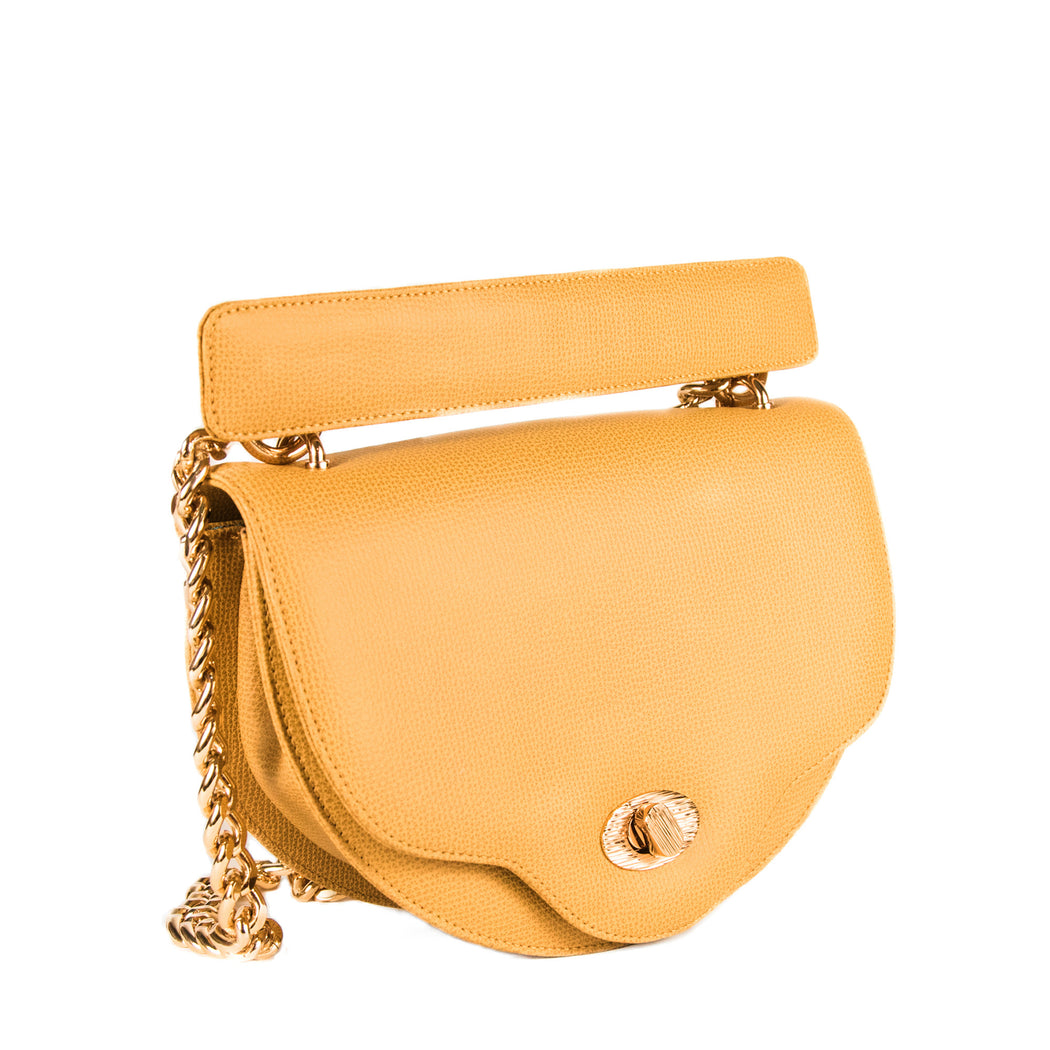 Chain handbag: Designer crossbody purse in yellow leather