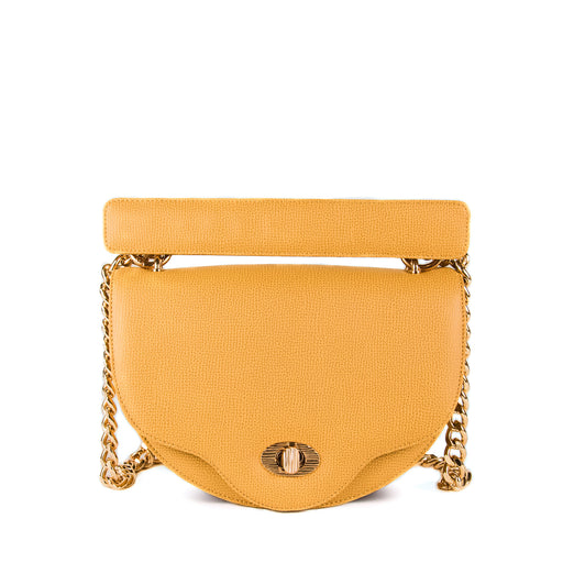 Mini crossbody bag: Yellow crescent designer handbag with chain strap
