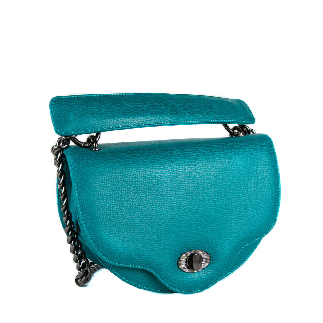 Designer crossbody handbag with chain strap, crescent shape teal leather