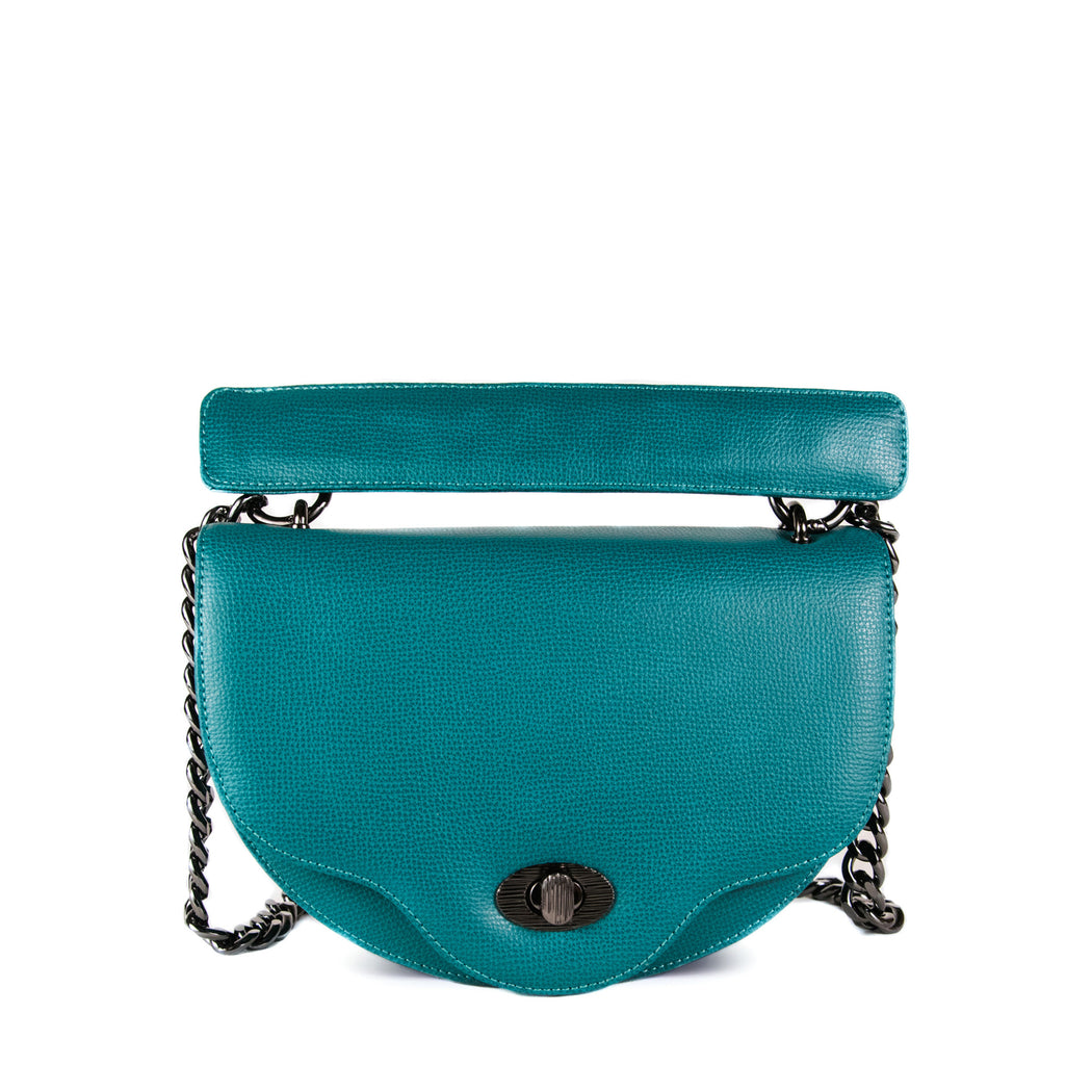 Designer chain bag: Mini crescent-shape crossbody bag in teal leather