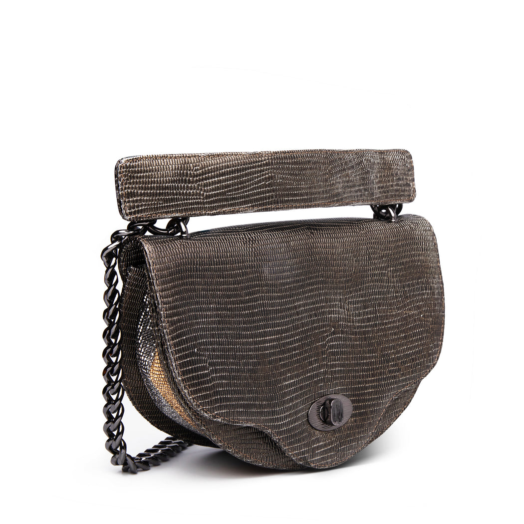 Lizard skin purse: Mini crossbody handbag with chain strap and crystal accent