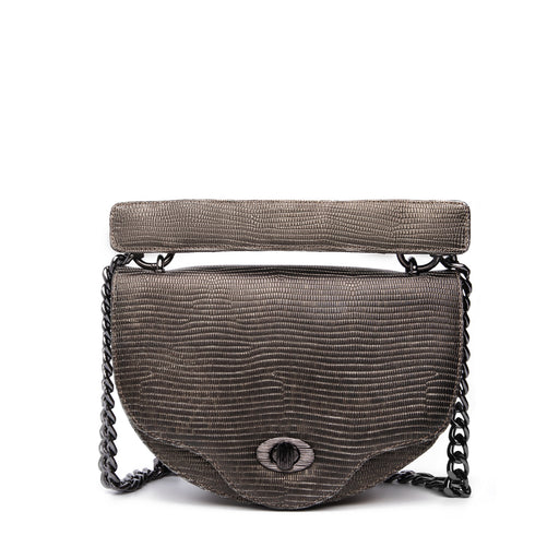 Designer chain handbags: Mini crossbody bag in black with crystal accent