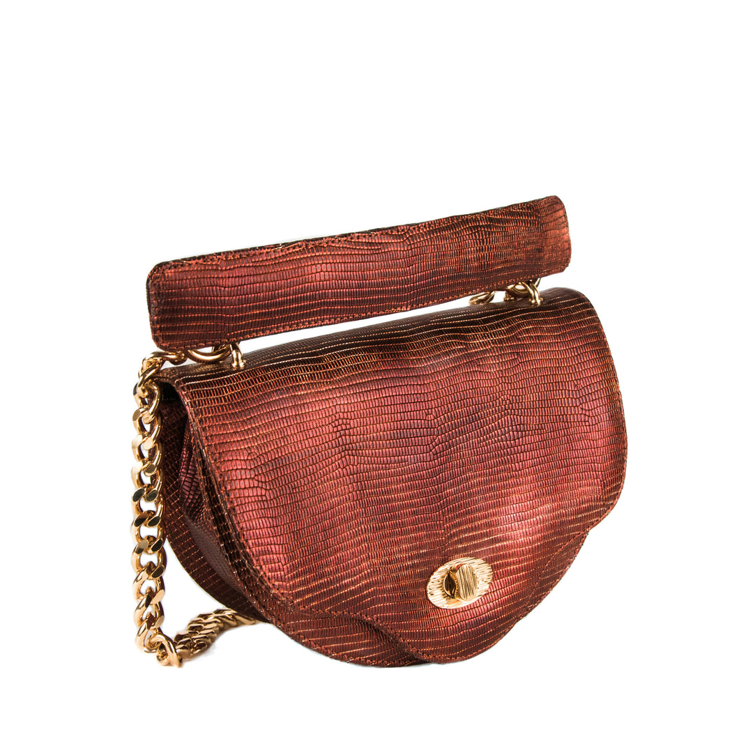 Designer crossbody chain handbag, crescent shape in copper lizard-embossed leather