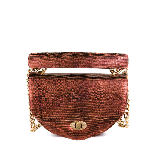 Luxury crossbody handbag with chain strap in copper lizard-embossed leather
