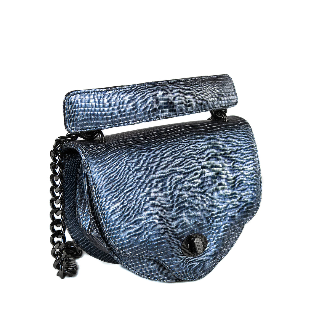 Designer chain bags: Mini crossbody bag in midnight blue lizard-embossed leather