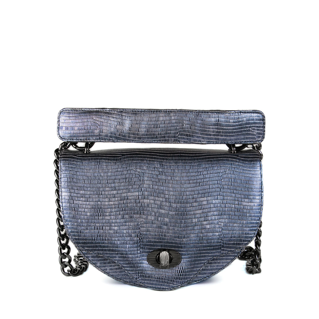 Designer crossbody handbag with chain strap in midnight blue leather, crescent shaped
