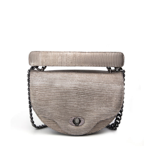 Designer crossbody handbag with chain strap in lizard-embossed leather, silver