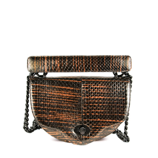 Designer handbag: Brown snakeskin crescent-shaped purse