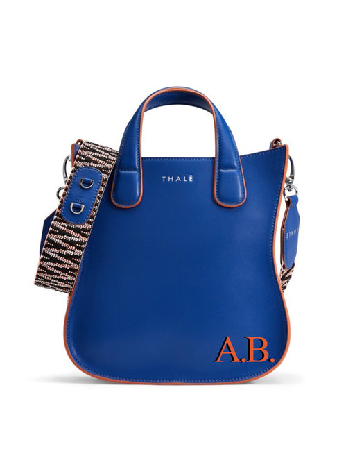 Designer tote: Monogram tote bag in blue leather