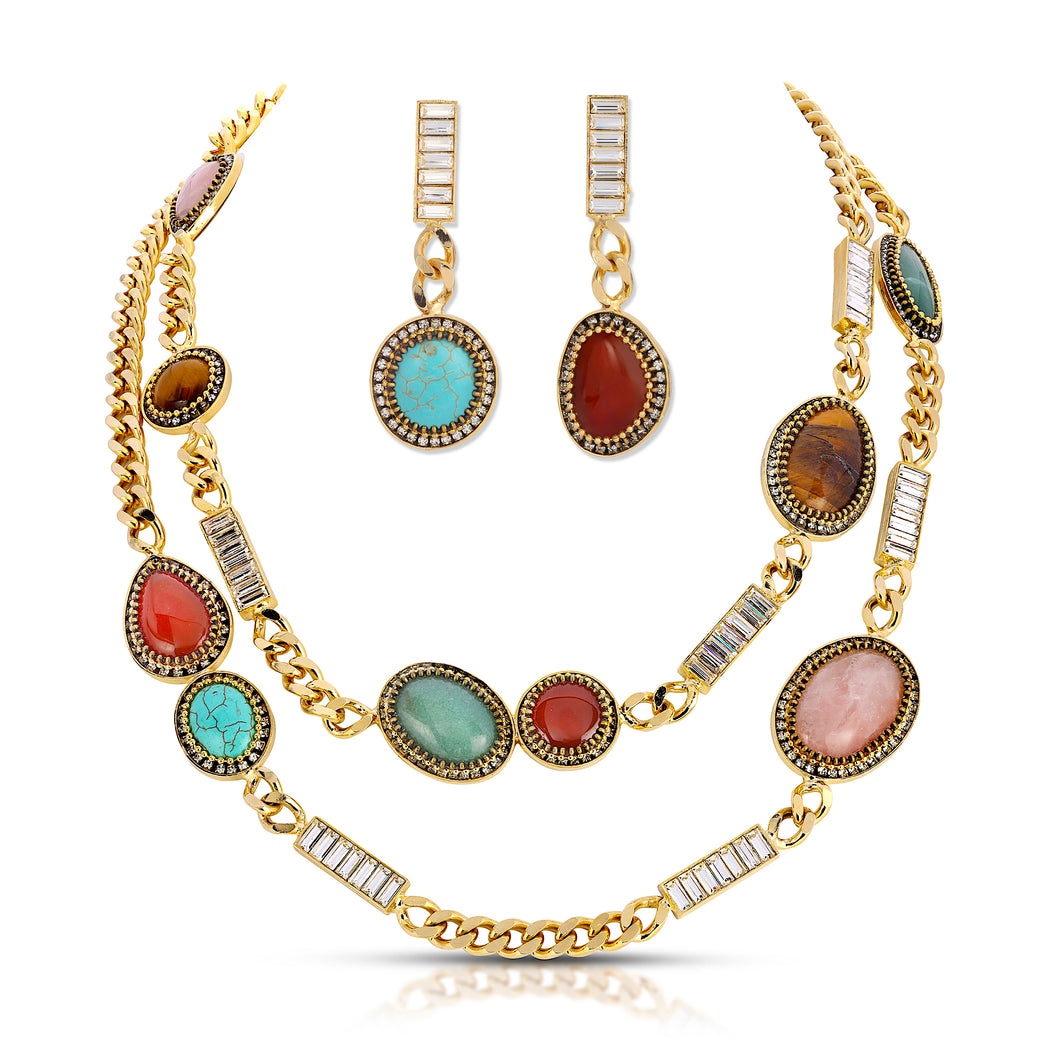 Byzantine Long Necklace and Earring Set